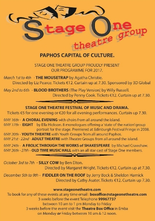 Stage One Theatre Programme - Paphos Capital of Culture 2017